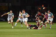 Dan Baker  of the Ospreys &copy; makes a break. Guinness Pro12 rugby union, Newport Gwent Dragons v Ospreys at Rodney Parade in Newport, South Wales on Friday 12th Sept 2014<br /> pic by Andrew Orchard, Andrew Orchard sports photography.