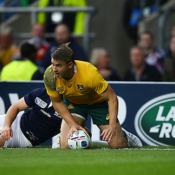 LONDON, ENGLAND - OCTOBER 18: Drew Mitchell of Australia during the Rugby World Cup Quarter Final match between Australia v Scotland at Twickenham Stadium on October 18, 2015 in London, England. (Photo by Steve Haag)