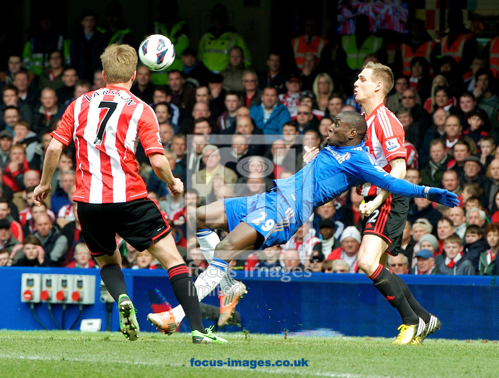 Picture by Alan Stanford/Focus Images Ltd +44 7915 056117.07/04/2013.Demba Ba of Chelsea tries an overhead kick during the Barclays Premier League match at Stamford Bridge, London.