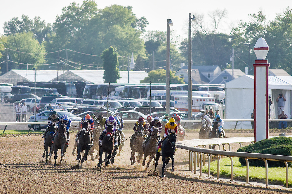 The Derby Race at the first turn, shot from the backside at the 142nd running of the Kentucky Derby. May 7, 2016