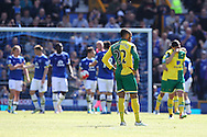 Nathan Redmond of Norwich looks dejected after conceding his side&rsquo;s 2nd goal during the Barclays Premier League match at Goodison Park, Liverpool<br /> Picture by Paul Chesterton/Focus Images Ltd +44 7904 640267<br /> 15/05/2016