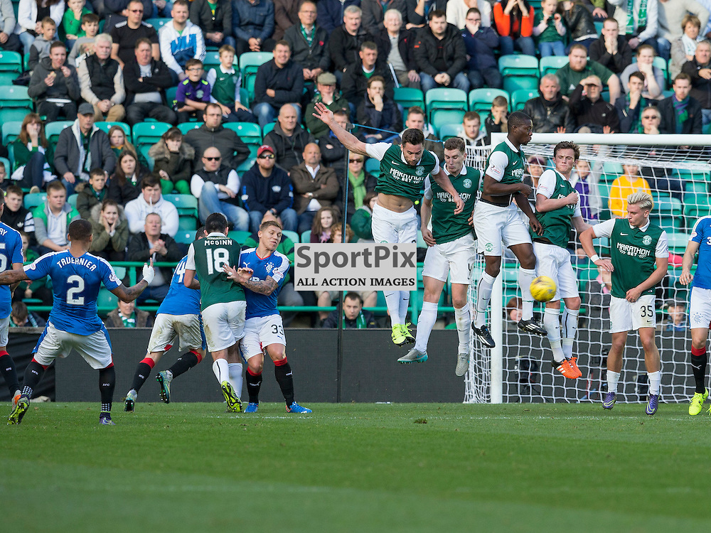 Hibernian FC v Rangers FC <br /> <br /> James Tavernier (Rangers) blasts his free kick into the wallduring the SPFL Championship match between Hibernian FC and Rangers FC at Easter Road Stadium on Sunday 1 November 2015.<br /> <br /> Picture Alan Rennie.