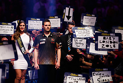 Toni Alcinas prepares for his walk on during day eleven of the William Hill World Darts Championship at Alexandra Palace, London.