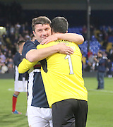 Giorgi Nemsadze hugs Julian Speroni at the end - Crystal Palace v Dundee - Julian Speroni testimonial match at Selhurst Park<br /> <br />  - © David Young - www.davidyoungphoto.co.uk - email: davidyoungphoto@gmail.com