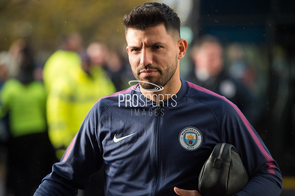 Manchester City Forward Sergio Aguero arriving for the premier League match between Huddersfield Town and Manchester City at the John Smiths Stadium, Huddersfield, England on 26 November 2017. Photo by Craig Zadoroznyj.