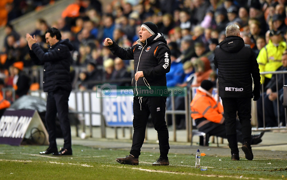CAPTION CORRECTION, CORRECT CAPTION SHOULD READ: Blackpool Assistant Manager Gary Brabin (centre) gestures on the touchline during the Emirates FA Cup, third round match at Bloomfield Road, Blackpool.