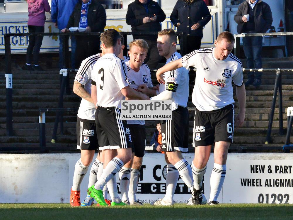 Ayr United players celebrate Robbie Crawford's opening goal against Stranraer......(c) BILLY WHITE | SportPix.org.uk