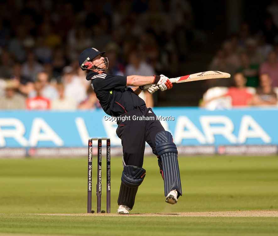 Paul Collingwood six during the final one day international between England and Australia at Lord's.  Photo: Graham Morris (Tel: +44(0)20 8969 4192 Email: sales@cricketpix.com) 03/07/10