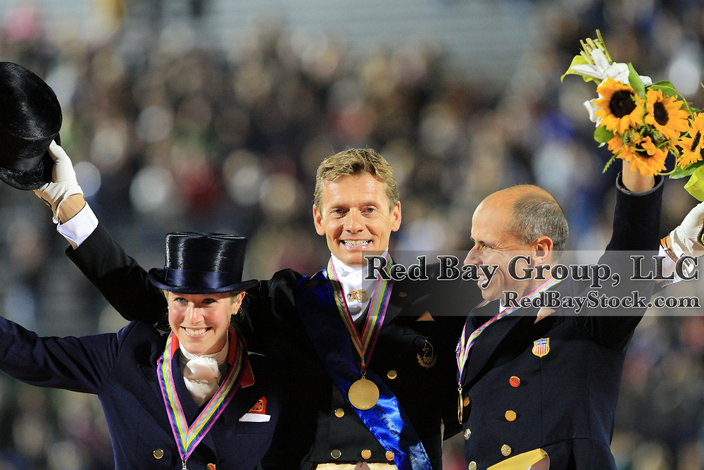 Medalists in the World Dressage Champions, Laura Bechtolsheimer, Edward Gal and Steffen Peters at the 2010 Alltech FEI World Equestrian Games, Lexington, Kentucky.