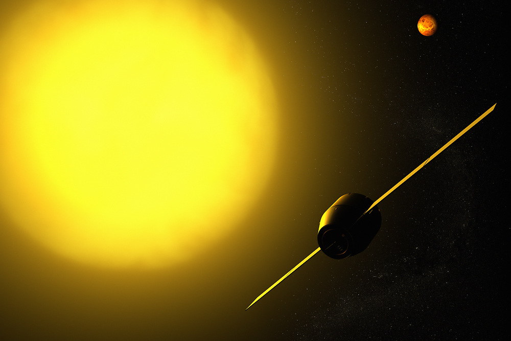 3D rendering of a spacecraft aproaching Venus and the sun