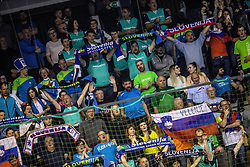 Fans of Slovenia during handball match between National teams of Slovenia and Netherlands in Qualifications of 2020 Men's EHF EURO, on April 14, 2019, in Arena Zlatorog, Celje, Slovenia. Photo by Vid Ponikvar / Sportida