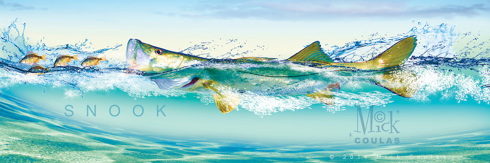 The Pursuit Series™ by Mick Coulas captures several species of game fish pursuing bait, available for license to be reproduced on clothing, prints and gifts that every fisherman will enjoy. This design features Snook pursuing Pinfish. © Registered Call for Information.
