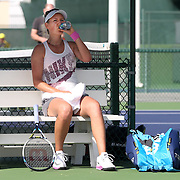 March 4, 2014, Indian Wells, California: <br /> Victoria Azarenka drinks water during a workout on the practice courts at the Indian Wells Tennis Garden. <br /> (Photo by Billie Weiss/BNP Paribas Open)