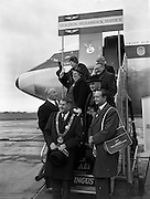 """06/12/1960<br /> 12/06/1960<br /> 06 December 1960<br /> Inaugural flight of new Irish Boeing Jetliner """"Padraig"""" to New York. Image shows passengers preparing to depart Dublin Airport:Lord Mayor of Dublin, Right Honourable Maurice E. Dockrel T.D. (left front) and the Lord Mayor of Belfast, Right Honourable R.G.C. Kinahan E.R.D., J.P. (right front) leading a group consisting of the Lord Mayor of Birmingham, Right Hon. G.B. Boughton; Lord Mayor of Cardiff, Right Hon. Mrs Dorothy Lewis, O.B.E., J.P.; Lord Provost of Edinburgh, the Right Hon. J.G. Dunbar; Lord Mayor of Leeds, the Right Hon. Mrs Lillian Hammond J.P.; Lord Mayor of Bristol, Right Hon. Hugh Jenkins J.P. and the Lord Mayor of Bradford Right Hon. E. Robinson J.P."""