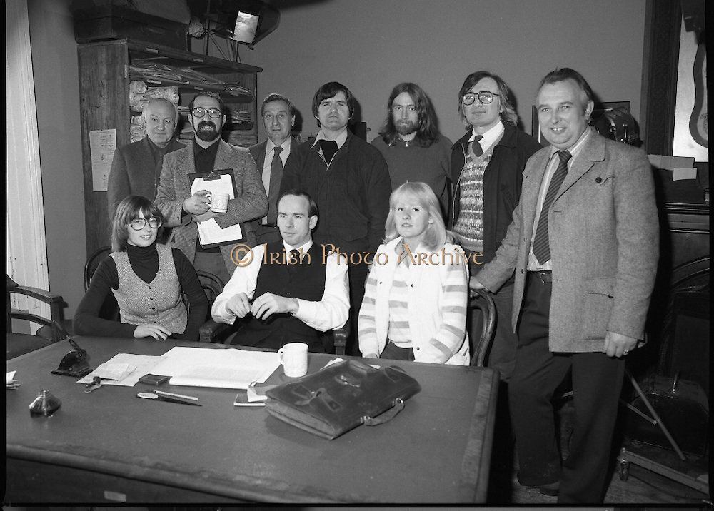 Patrick Pearse a film by Louis Marcus.    (N6)..1979..13.12.1979..12.13.1979..13th December 1979..A film on the Irish Patriot,Patrick was made by the Director, Louis Marcus.The film was to mark the centenary of Patrick Pearse's birth. The lead role was taken by renowned actor John Kavanagh.Others involved in the production were, Andy O'Mahoney, Niall Tobín,Denis Brennan and Derek Lord..Picture shows the entire crew on the set taking time for a group photograph.