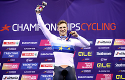 Netherland's Jeffrey Hoogland celebrates winning Gold in the Men's Sprint Final during day five of the 2018 European Championships at the Sir Chris Hoy Velodrome, Glasgow.
