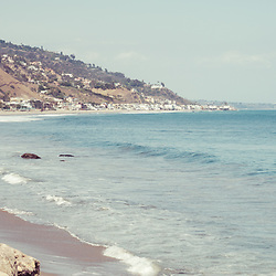 Manibu California coastline panorama photo. Malibu is a beach city in Southern California in the United States of America. Panoramic photo ratio is 1:3. Copyright ⓒ 2015 Paul Velgos with All Rights Reserved.