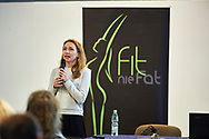 "Warsaw, Poland - 2017 April 07: Magdalena Rodak - Debowska blogger ""Fitness PR"" speaks during The Day of Health - science conference in the National Library on April 07, 2017 in Warsaw, Poland.<br /> <br /> Mandatory credit:<br /> Photo by © © Adam Nurkiewicz / Mediasport / Mediasport<br /> <br /> Picture also available in RAW (NEF) or TIFF format on special request.<br /> <br /> Any editorial, commercial or promotional use requires written permission from the author of image.<br /> <br /> Adam Nurkiewicz declares that he has no rights to the image of people at the photographs of his authorship."