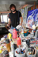Artist Domingo Zapata at home in his home studio in The Bowery Hotel on September 28, 2012...Photo Credit ;  Rahav Iggy Segev / Photopass..