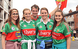 Ursula Kennedy from Castlebar with Lisa, Patrick, Sophie and Ailing Collins from Breaffy on their way to the All Ireland Semi-final between Mayo and Dublin on sunday last.<br /> Pic Conor McKeown