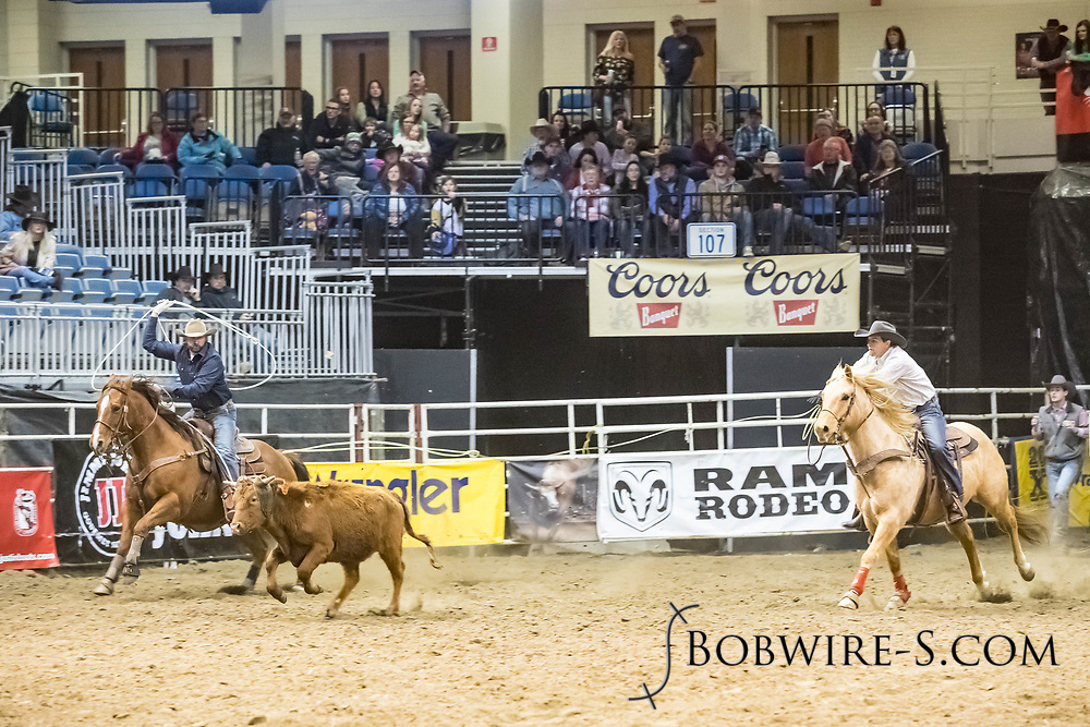 Jason Vohs and Chad Ystaas compete in team roping at the Bismarck Rodeo on Friday, Feb. 2, 2018. They had a no time on their run.