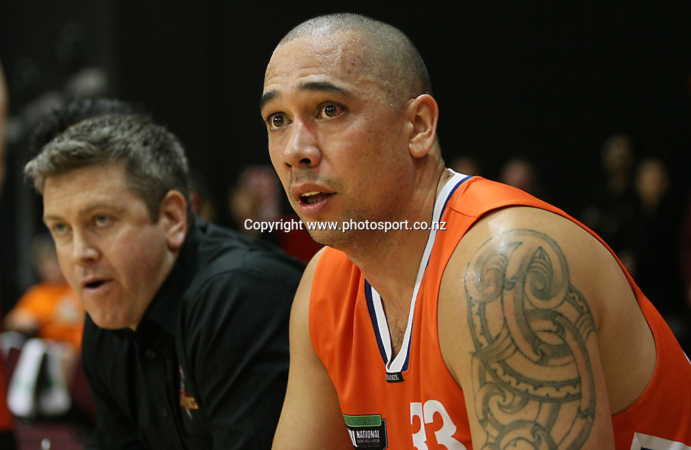 Sharks Paul henare watches on from the bench in the 2014 Bartercard National Basketball League, Sharks v Mountainairs, ILT Stadium Southland, Invercargill, New Zealand, Sunday, June 01, 2014. Photo: Dianne Manson / www.photosport.co.nz