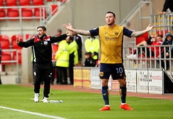 Bristol City head coach Lee Johnson and Lee Tomlin gesture in frustration towards the referee - Mandatory by-line: Matt McNulty/JMP - 10/09/2016 - FOOTBALL - Aesseal New York Stadium - Rotherham, England - Rotherham United v Bristol City - Sky Bet Championship
