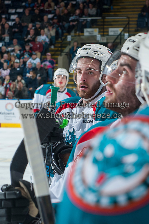 KELOWNA, CANADA - APRIL 25: Reid Gardiner #23 of the Kelowna Rockets stands at the bench against the Seattle Thunderbirds on April 25, 2017 at Prospera Place in Kelowna, British Columbia, Canada.  (Photo by Marissa Baecker/Shoot the Breeze)  *** Local Caption ***