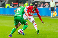 ALKMAAR - 26-02-2017, AZ - PEC Zwolle, AFAS Stadion, PEC Zwolle speler Mustafa Saymak, AZ speler Ridgeciano Haps
