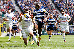 Bath Winger Semesa Rokoduguni chases back - Photo mandatory by-line: Rogan Thomson/JMP - 07966 386802 - 30/05/2015 - SPORT - RUGBY UNION - London, England - Twickenham Stadium - Bath Rugby v Saracens - 2015 Aviva Premiership Final.