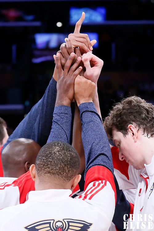 01 April 2015: New Orleans Pelicans players gather during the players introduction prior to the New Orleans Pelicans 113-92 victory over the Los Angeles Lakers , at the Staples Center, Los Angeles, California, USA.