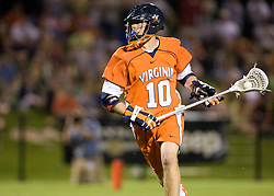 Virginia midfielder Jack Riley (10) in action against Maryland.  The #3 ranked Virginia Cavaliers defeated the #8 ranked Maryland Terrapins 11-8 in the semi finals of the Men's 2008 Atlantic Coast Conference tournament at the University of Virginia's Klockner Stadium in Charlottesville, VA on April 25, 2008.