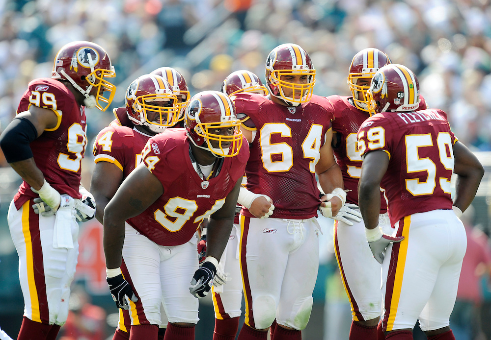 PHILADELPHIA - OCTOBER 5:  Washington Redskins defense during a game against the Philadelphia Eagles on October 5, 2008 at Lincoln Financial Field in Philadelphia, Pennsylvania. The Redskins won 23-17. *** Local Caption ***