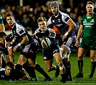 Harri Morgan of Ospreys gets the ball away<br /> <br /> Photographer Simon King/Replay Images<br /> <br /> Guinness PRO14 Round 7 - Ospreys v Connacht - Friday 26th October 2018 - The Brewery Field - Bridgend<br /> <br /> World Copyright © Replay Images . All rights reserved. info@replayimages.co.uk - http://replayimages.co.uk
