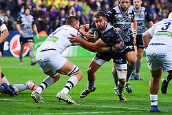 Ospreys' Rhys Webb is tackled by Clermont Auvergne's Paul Jedrasiak - Mandatory by-line: Craig Thomas/JMP - 15/10/2017 - RUGBY - Liberty Stadium - Swansea, Wales - Ospreys Rugby v Clermont Auvergne - European Rugby Champions Cup