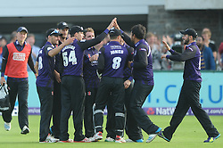 Peter Handscomb of Gloucestershire celebrates with team mates after catching out Johann Myburgh of Somerset for 63 - Photo mandatory by-line: Dougie Allward/JMP - Mobile: 07966 386802 - 19/06/2015 - SPORT - Cricket - Bristol - County Ground - Gloucestershire v Somerset - Natwest T20 Blast