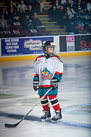 KELOWNA, CANADA - NOVEMBER 26: The Pepsi Player stands on the blue line at the Kelowna Rockets against the Regina Pats on November 26, 2016 at Prospera Place in Kelowna, British Columbia, Canada.  (Photo by Marissa Baecker/Shoot the Breeze)  *** Local Caption ***