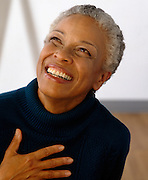Pretty African American Senior Woman Smiling
