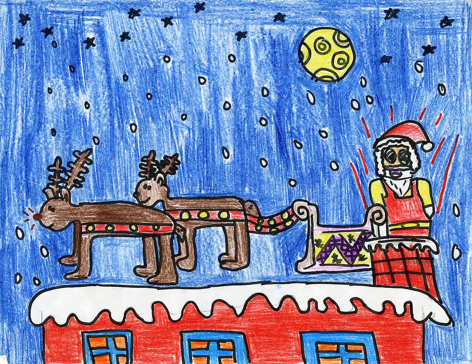 Holiday card designed by Andrea Olguin of Wainwright Elementary School.