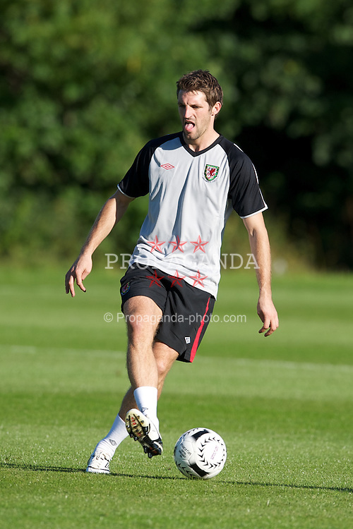 CARDIFF, WALES - Monday, August 30, 2010: Wales' Sam Ricketts during training at the Vale of Glamorgan ahead of the UEFA Euro 2012 Qualifying Group 4 match against Montenegro. (Pic by David Rawcliffe/Propaganda)