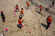 West Valley College women's soccer team trains on Capitola Beach on Friday, Aug. 19, 2016.