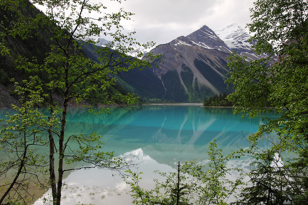 Turquoise Kinney Lake, at Mount Robson, on the British Columbia side of the Canadian Rockies