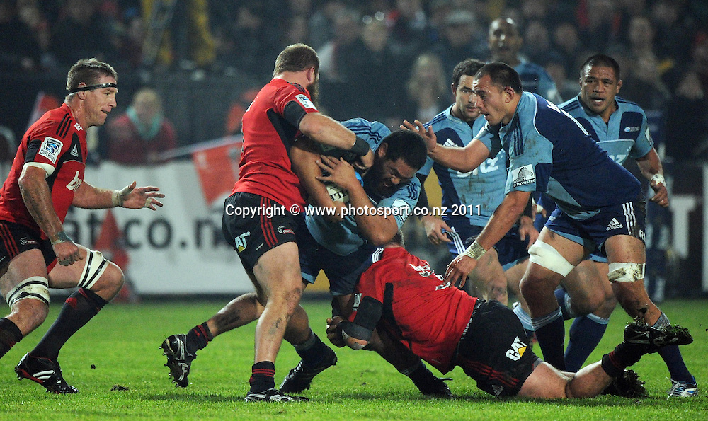 Charlie Faumuina during the Super Rugby match between the Crusaders and Blues at Alpine Energy Stadium, Timaru. 11 June 2010. Auckland, New Zealand. Photo: Andrew Cornaga / photosport.co.nz