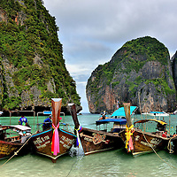 Longtail Boats Beached at Maya Bay on Phi Phi Ley, Thailand<br />