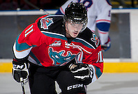 KELOWNA, CANADA - NOVEMBER 23:  Carter Rigby #11 of the Kelowna Rockets skates on the ice against the  Regina Pats at the Kelowna Rockets on November 23, 2012 at Prospera Place in Kelowna, British Columbia, Canada (Photo by Marissa Baecker/Shoot the Breeze) *** Local Caption ***
