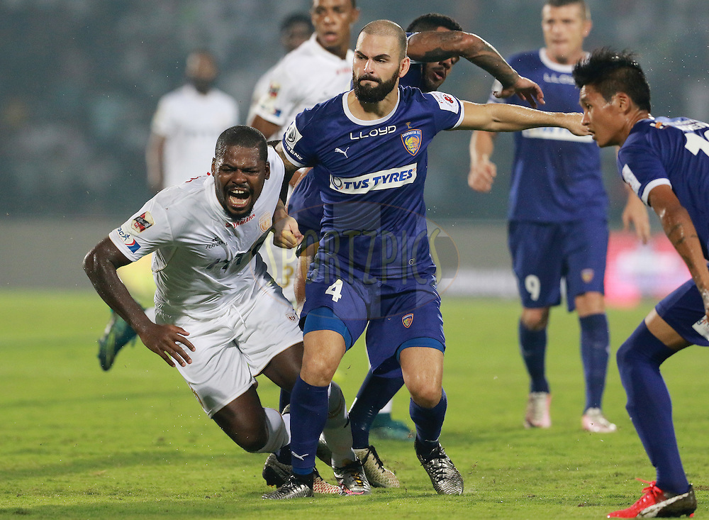 Romaric of NorthEast United FC reacts after colliding with Hans Mulder of Chennaiyin FC during match 18 of the Indian Super League (ISL) season 3 between NorthEast United FC and Chennaiyin FC held at the Indira Gandhi Athletic Stadium in Guwahati, India on the 20th October 2016.<br /> <br /> Photo by Vipin Pawar / ISL/ SPORTZPICS