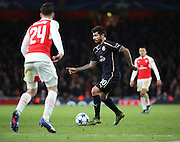 Dinamo Zagreb's Paulo Machado taking on Arsenal defender Hector Bellerin during the Champions League match between Arsenal and Dinamo Zagreb at the Emirates Stadium, London, England on 24 November 2015. Photo by Matthew Redman.