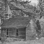 School House Church - Golden, Oregon - HDR - Infrared Black & White