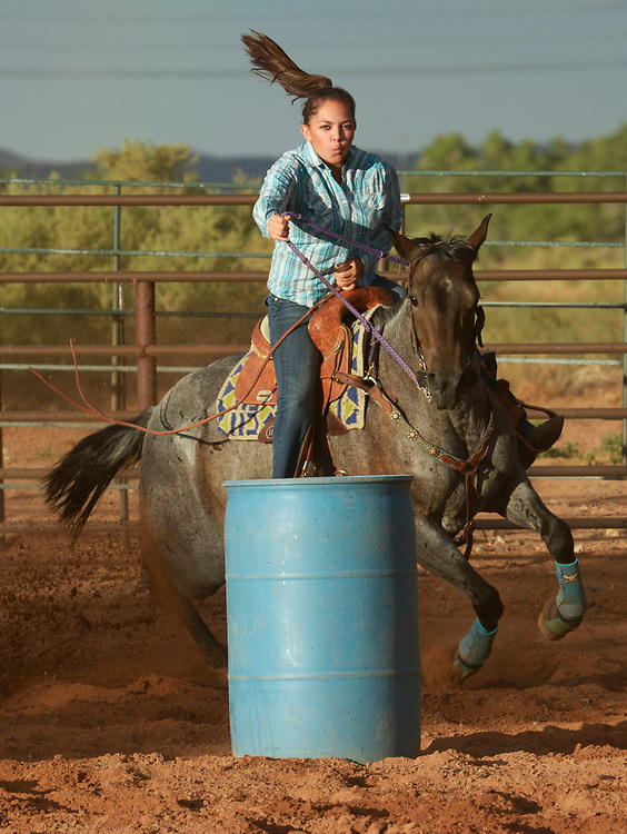 gbs072017m/RIO-WEST  -- Lysa Lucero of Canon competes in the barrel race at the Summer Series Rodeo at the Stables at Tamaya on Thursday, July 20, 2017.(Greg Sorber/Albuquerque Journal)