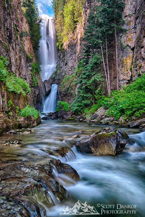Mystic Falls lies in a tall canyon south of Telluride, Colorado.
